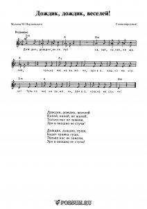 """Песня """"Дождик, дождик, веселей!"""" М. Иорданского: ноты"""